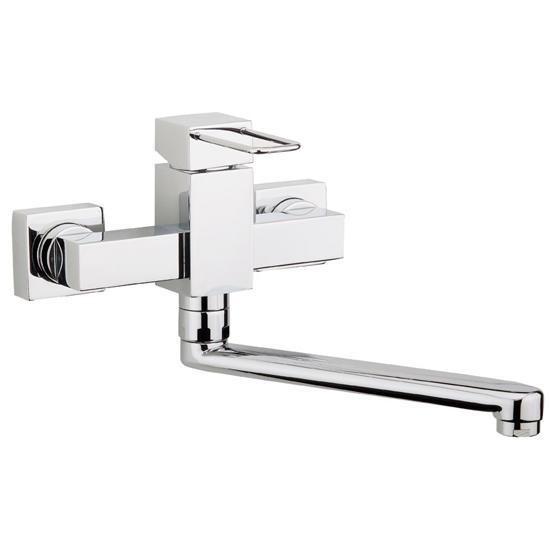 Quadra rubinetto monocomando lavello a parete finitura cromo bagno italiano - Rubinetto a parete bagno ...