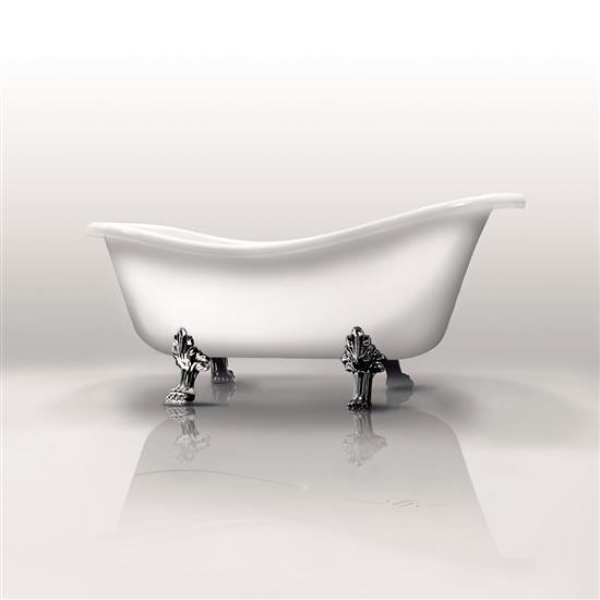Ethos vasca da bagno freestanding con scarico e piedi cromo bagno italiano - Vasca da bagno con i piedi ...
