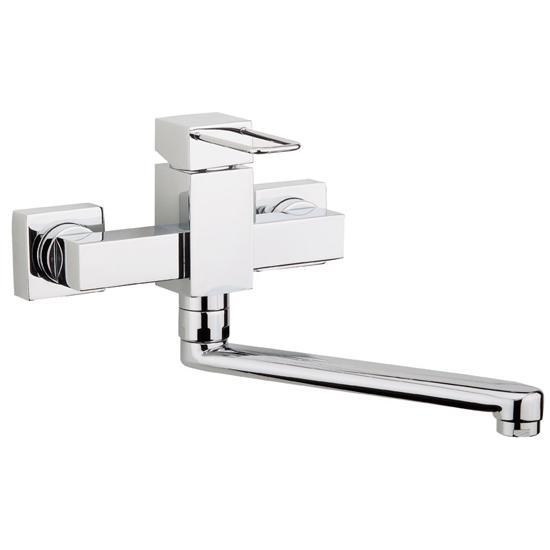 Quadra rubinetto monocomando lavello a parete finitura nickel spazzolato bagno italiano - Rubinetto a parete bagno ...