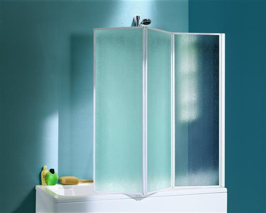Hawaii parete pieghevole vasca bianco vetro stampato 45 for Parete vasca pieghevole