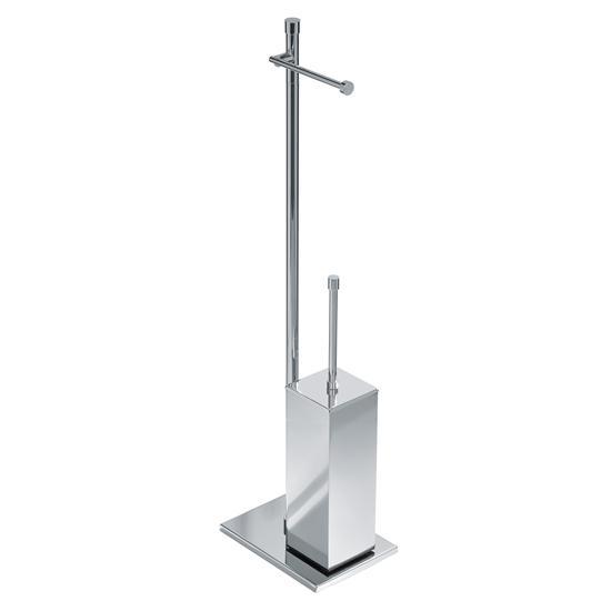 Deco 39 piantana porta rotolo e porta scopino quadrato bagno italiano - Porta scopino bagno ...