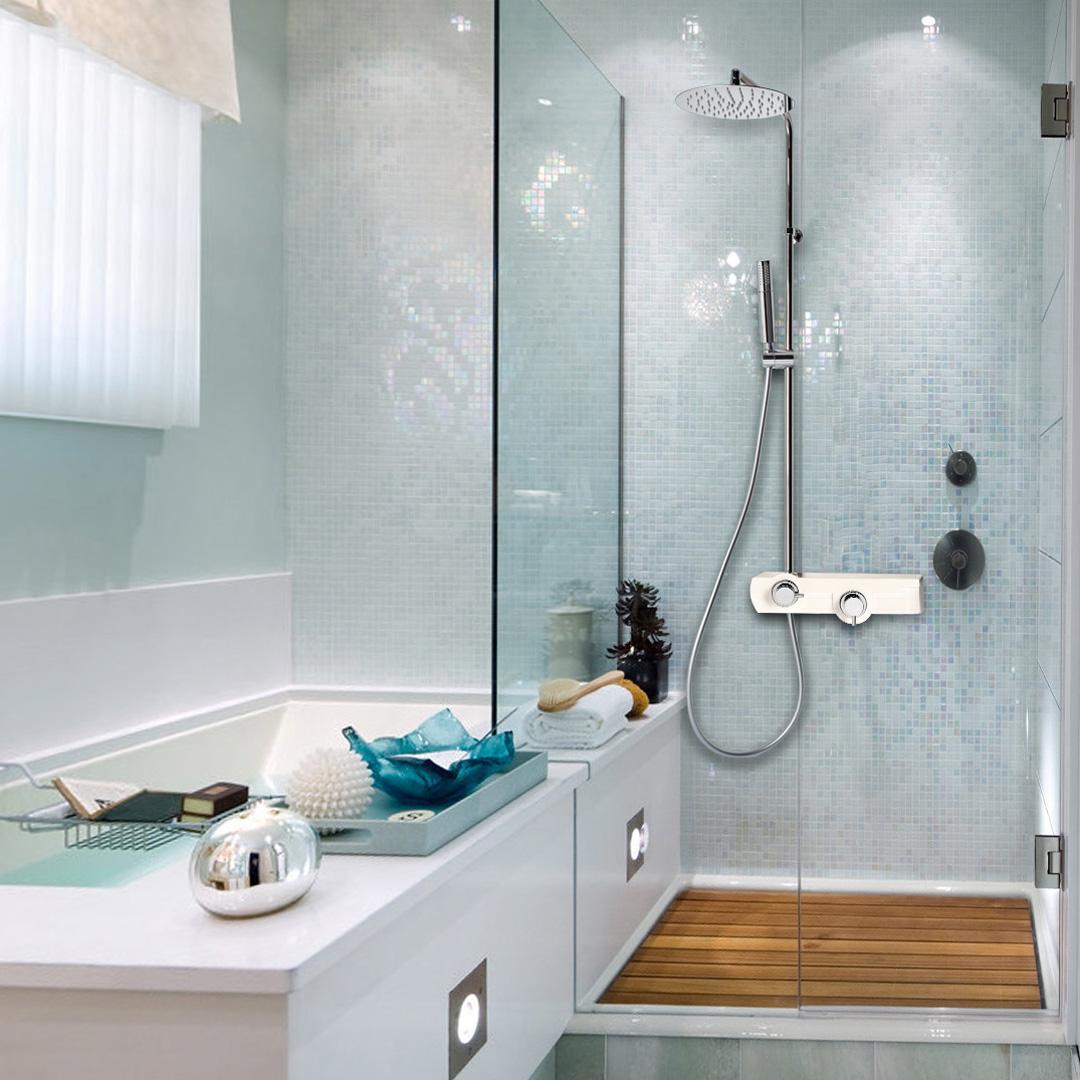 Jolly colonna doccia con miscelatore termostatico finitura bianco bagno italiano - Bagno termostatico ...