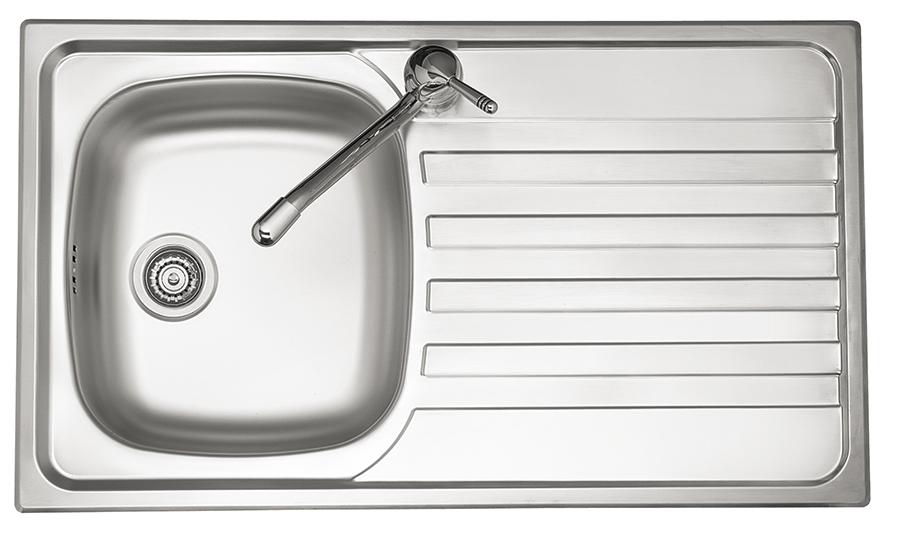 PREMIUM lavello in acciaio inox ad una vasca + gocciolatoio a SX ...