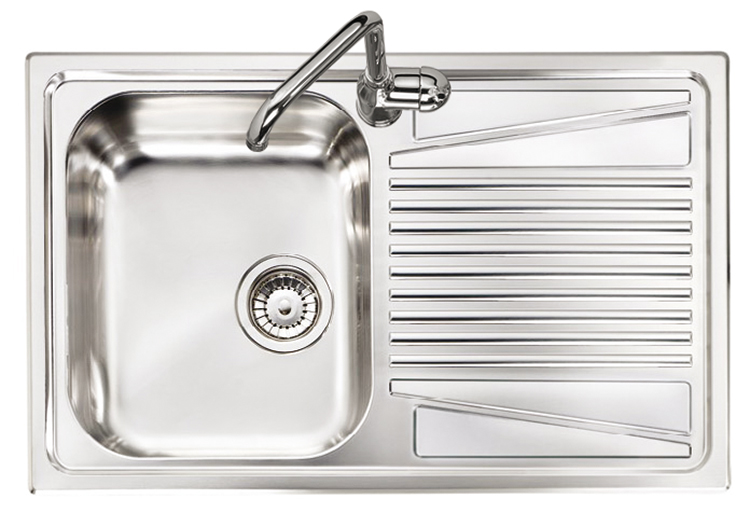 OLYMPUS lavello in acciaio inox ad una vasca + gocciolatoio a DX ...