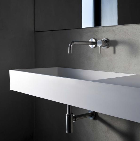 Minimal miscelatore lavabo incasso in acciaio inox finitura satinato bagno italiano - Miscelatore lavabo bagno ...