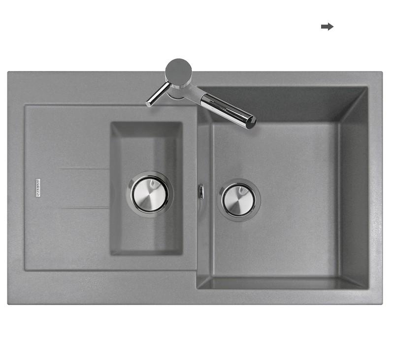Elegance lavello cucina a due vasche finitura ultrametal 42 titanio bagno italiano - Lavello cucina profondita 40 ...