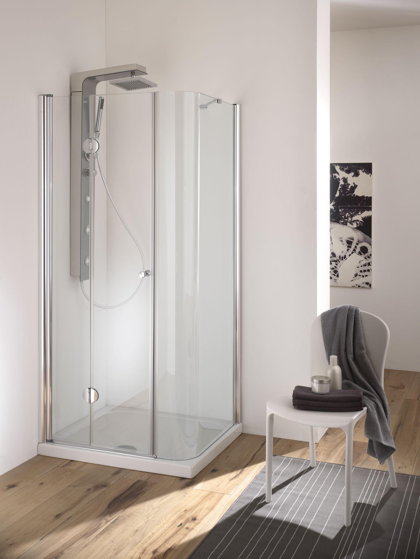 Fuji box doccia angolare porta cerniera finitura cromo 70 cm ...