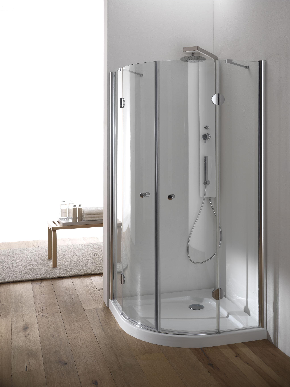 Hawa box doccia circolare finitura cromo 80 cm trasparente for Box doccia cristallo