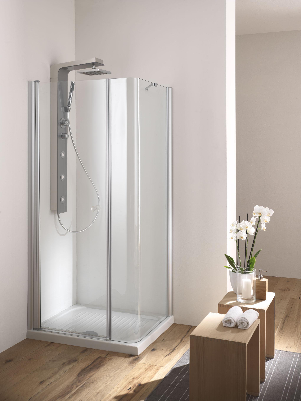 Soho box doccia angolare porta battente finitura bianco for Porta battente