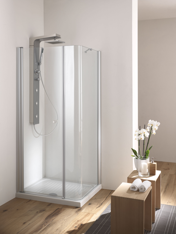 Soho box doccia angolare porta battente finitura argento - Box doccia porta battente ...