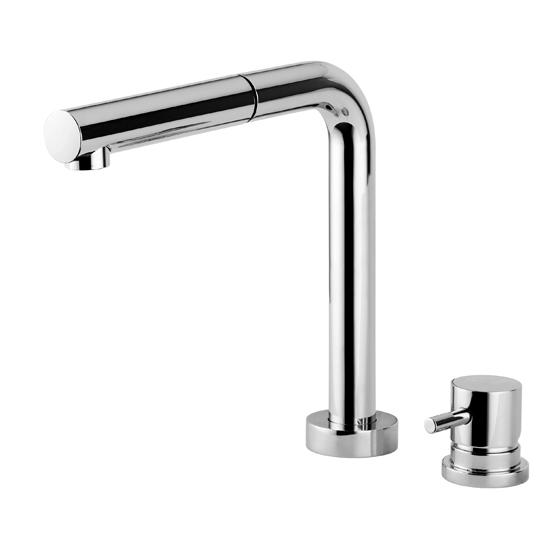 HI-TECH rubinetto monocomando lavello sottofinestra con canna abbattibile doccetta in ottone finitura cromo - Bagno Italiano