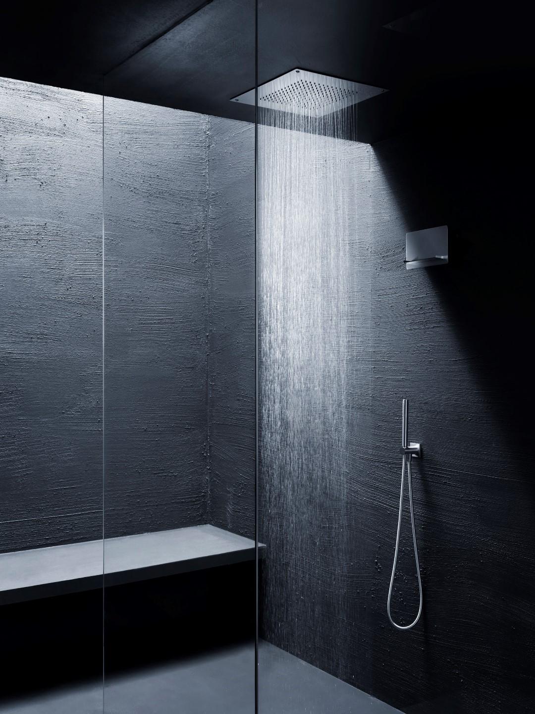 Soffione quadrato 400x400 in acciaio da incasso finitura acciaio lucido bagno italiano - Soffione doccia da incasso ...