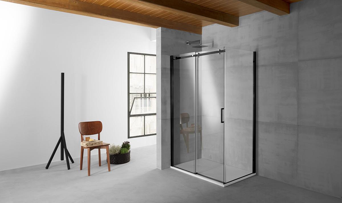 Qubo box doccia angolare fix porta scorrevolecm finitura