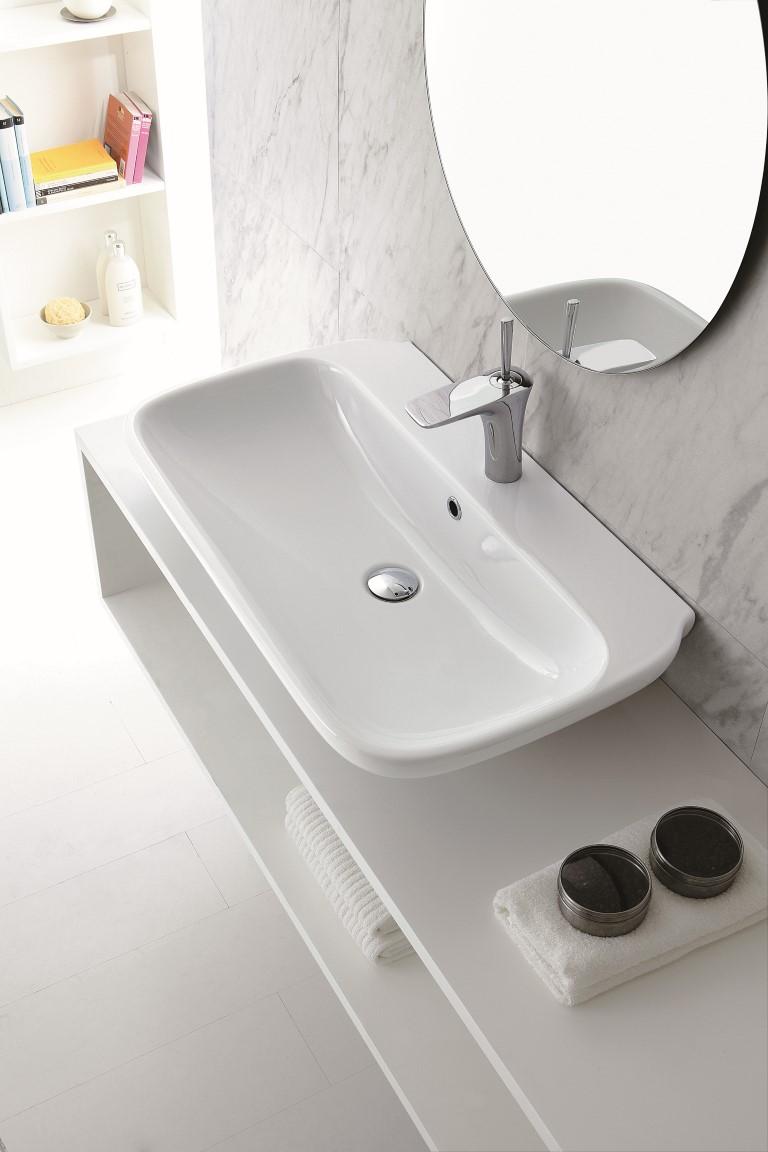 Clear lavabo da appoggio sospeso 65 cm bagno italiano - Lavabo bagno 50 cm ...