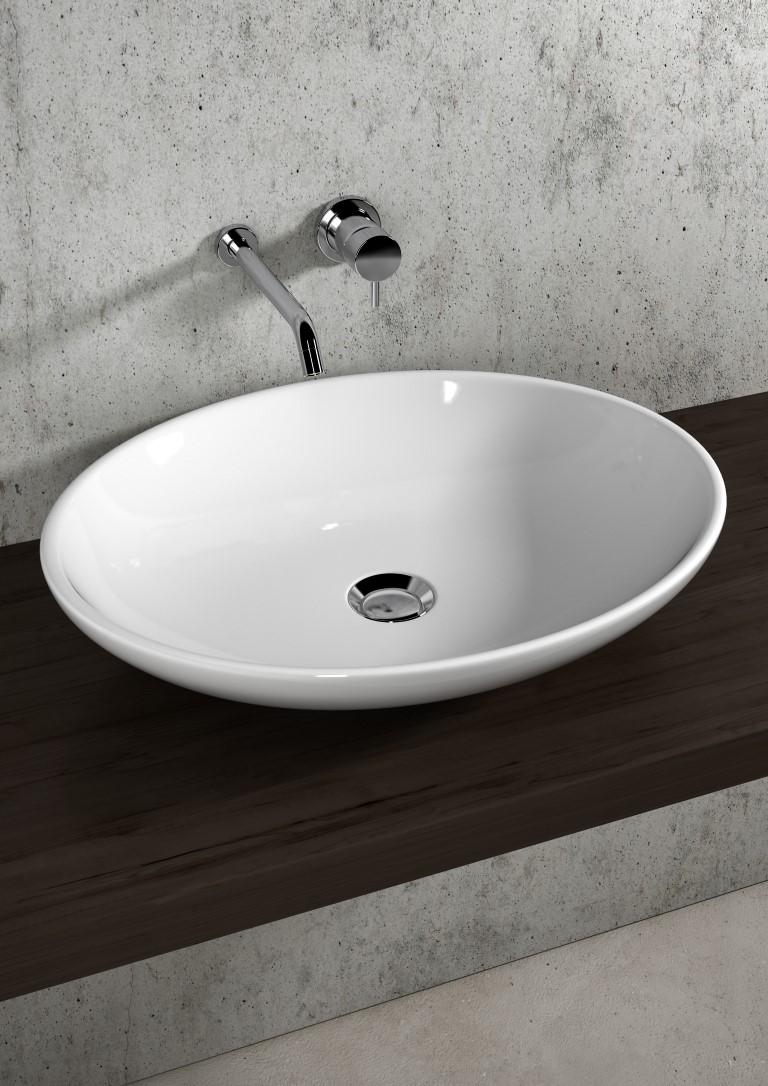 Lavello Bagno Da Appoggio lavabo ovale 59 da appoggio lil4b59001 - bagno italiano